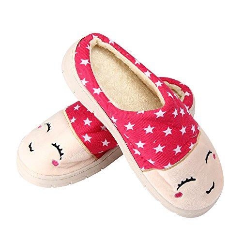 Amlaiworld Morbido Cotone Casa Pantofole Per Coppie Rosa caldo