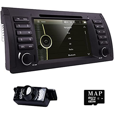 HIZPO for BMW 5 Series E39 E53 X5 M5 Vehicle Wince 6.0 Single Din 7 inch In Dash Multimedia Headunit HD Touchscreen Car DVD Player GPS Navi Stereo Steering Wheel Control Bluetooth SD USB iPod Radio AV-IN 1080P DVB-T BOX input DVR Cam-in Rear camera included