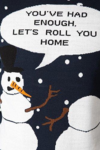 Pour Hommes Femmes 3D nouveauté Pull De Noël Threadbare tricoté Pull Col Rond Bonhommes De Neige Antarctique Marine