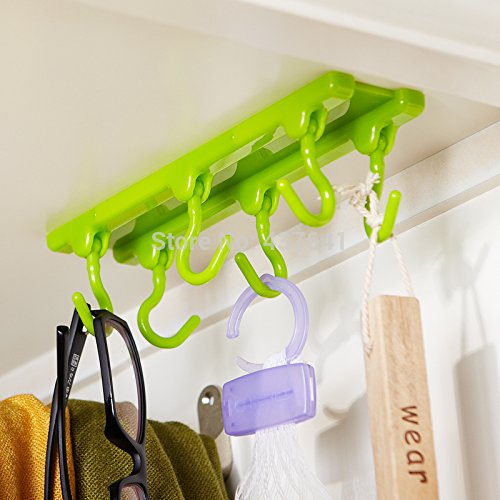 Multi-functions High Quality Fashionable ABS Plastic Wall Cabinet Adhesive Stickers set of 6 ceiling Hooks For Kitchen Bathroom Living Room. Powerful, Capacity to hold up to 2Kgs. 6 hook that can be rotated 90 degrees. can be used to keep kitchen tools, towel, keys, etc .