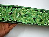 Stoffbesatz, 7,6 cm, bestickt auf schwarzer Seide, Grün,
