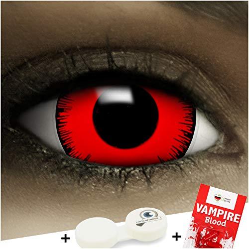 """Maxi Sclera Kontaktlinsen""""Volturi"""" + Kunstblut Kapseln + Behälter von FXContacts in rot, weich, ohne Stärke als 2er Pack - farbige lenses perfekt zu Halloween, Karneval, Fasching oder Fastnacht"""