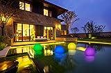 Bonetti 2-in-1 Solar Gartenleuchte Blüte - Schwimmkugel mit LED Beleuchtung/kabellos / schwimmfähig / 8 Farben/optionaler Farbwechsel/Ø 35 cm