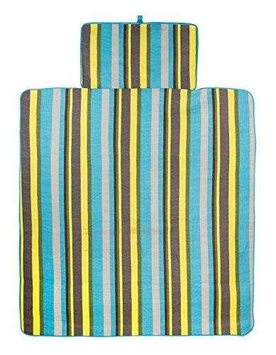 Idena Picknickdecke mit Schultergurt, 150 x 135 cm, blau gestreift, 10037600 Kleine Polyester-fleece