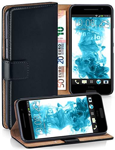 moex® Booklet mit Flip Funktion [360 Grad Voll-Schutz] für HTC One A9 | Geldfach und Kartenfach + Stand-Funktion und Magnet-Verschluss, Schwarz