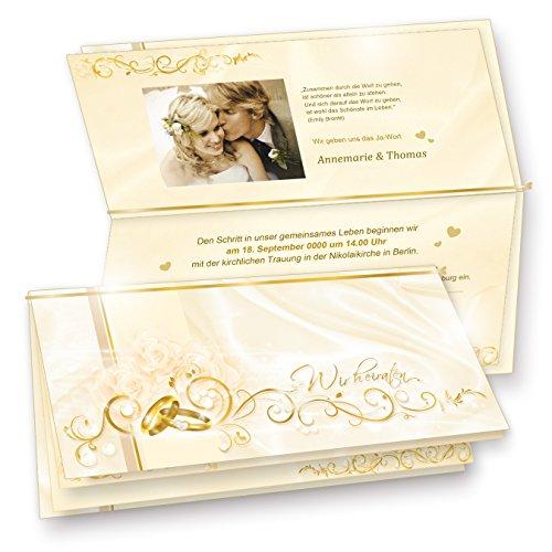 TATMOTIVE 40 Einladungskarten für Hochzeit PERLMUTT, Set DIN Lang Karten, Umschläge, Einlegeblätter zum Selbstbedrucken