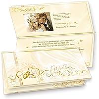 TATMOTIVE 20 Einladungskarten Für Hochzeit PERLMUTT, Set DIN Lang Karten,  Umschläge, Einlegeblätter Zum