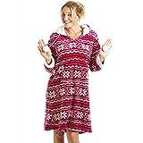 Camille Superweiches Hauskleid mit Kapuze - seidig glatt - Nordisches Muster Rot & Weiß 38/40