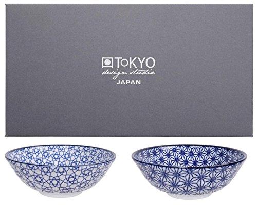 Tokyo Design Studio, Bol en porcelaine, Diamètre 21.0cm - Coffret de 2, Nippon Blue