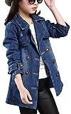 Brinny Mädchen Jeansjacke kinderjacken kinderkleidung mädchen Denim Jeans Windbreaker-Jacken-Mantel Outwear , Blau- 160