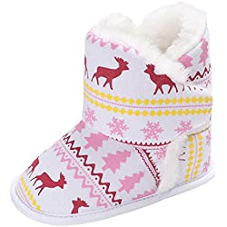 EOZY-Stivali da Neve Bambini Boots Natale Alce Scarpe Primi Passi Neonati Bimba (12cm, Rosa)