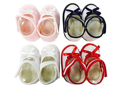 Chaussures Souple Cadeau de Naissance de Bébé du Nouveaux née avec boucle magic en Blanc