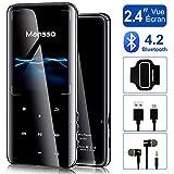 Lecteur MP3 MANSSO Bluetooth 4.2, Boutons Tactile avec Écran de TFT 2,4 Pouces, Lecteur Audio numérique Portable sans Perte de 8 Go avec Radio FM E-Book enregistreur Vocal Prise en Charge jusqu'à 128G