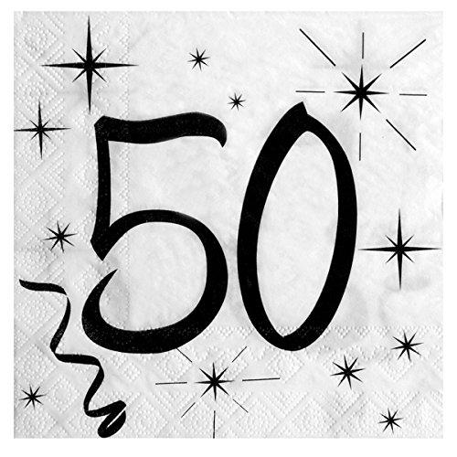 z/weiß 20 Stück (50 Geburtstag-servietten)