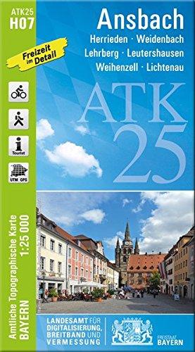 ATK25-H07 Ansbach (Amtliche Topographische Karte 1:25000): Herrieden, Weidenbach, Lehrberg, Leutershausen, Weihenzell, Lichtenau (ATK25 Amtliche Topographische Karte 1:25000 Bayern)