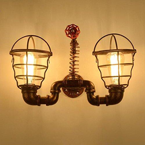 Nordic Rétro Style Industriel Lampe Murale Loft Café Bar En Fer Forgé Mur Lampe Lampe Maille Ombre Mur Lampe, Source de Lumière E27 * 2, Taille 42 * 28 cm