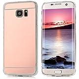 Coque de Protection pour S7 Edge Smartphone, YOKIRIN Samsung Galaxy S7 Edge Case Cover en TPU Souple avec Miroir Bumper Rabat Antichoc Léger - Rose Or