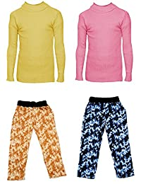 IndiStar Boys Combo Pack For Winter(Pack of 2 Printed Lower and 2 Wollen Full Sleeves T-Shirt/Inner/Skivvy )_Yellow::Pink::Multicolor_8-9 Years_360181910110-0206-IW-P4-30