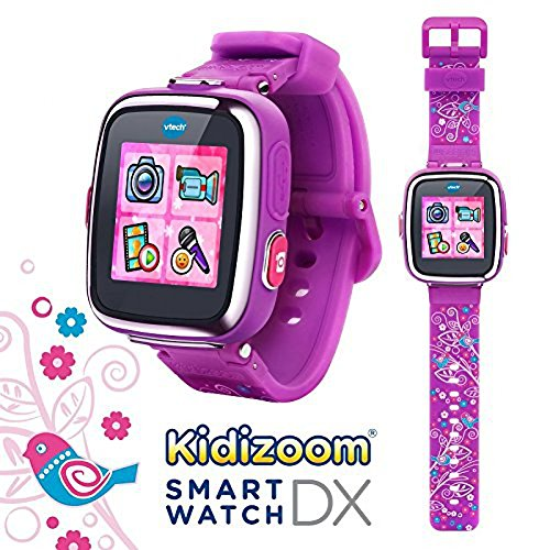 V-Tech-Kidizoom-Smartwatch-Dx-Special-Edition-Floral-Swirl-With-Bonus-Vivid-Violet-Wristband