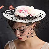 NONGNIML Women's England Administrator graduation Lace Flowers Black net Garn Kuppel Wide Sims hat Headpiece-Hochzeit/Party/Special Occasion Headpiece & Fascinator 1 Stück