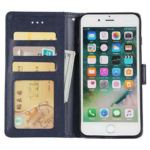 """Coque iPhone 7 4.7"""", MOONESS Ultra Slim Housse Etui TPU Bumper Cover de Protection pour iPhone 7 4.7"""" Rangements de Cartes, Languette Magnétique(Winered) Blue"""
