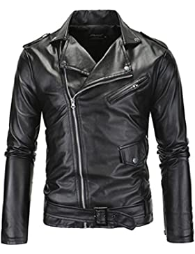 PU Cuero De Abrigos De Moda Para Hombre Chaqueta Mens Fashion Jacket Outerwear Leather Top