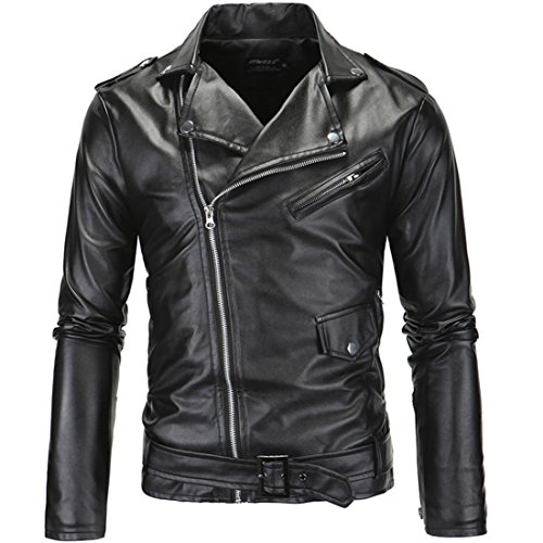 a67775d210e PU Cuero De Abrigos De Moda Para Hombre Chaqueta Mens Fashion Jacket  Outerwear Leather Top (