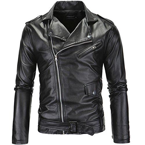 PU Cuero De Abrigos De Moda Para Hombre Chaqueta Mens Fashion Jacket Outerwear Leather Top (Negro, L)