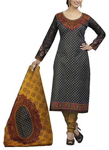 Saranya Sarees Women's Cotton Unstitched Dress Material (Black)