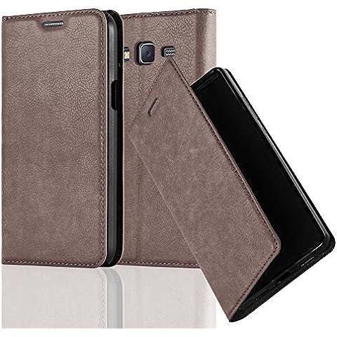 Cadorabo - Funda Book Style Cuero Sintético en Diseño Libro Samsung Galaxy J5 (Modelo 2015) - Etui Case Cover Carcasa Caja Protección con Imán Invisible en MARRÓN-CAFÉ