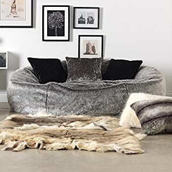 ICON Kenai Cloud Luxury Extra Large Soft Faux Fur Bean Bag Chair For Two People