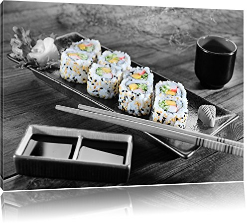köstliche Inside Out Sushi Rollen schwarz/weiß Format: 60x40 auf Leinwand, XXL riesige Bilder fertig gerahmt mit Keilrahmen, Kunstdruck auf Wandbild mit Rahmen, günstiger als Gemälde oder Ölbild, kein Poster oder Plakat