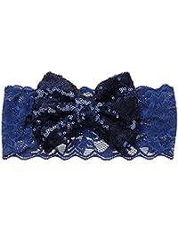 Sanwood Bandeau Bandeau cheveux pour enfant avec nœud en dentelle pour bébé fille à paillettes scintillant