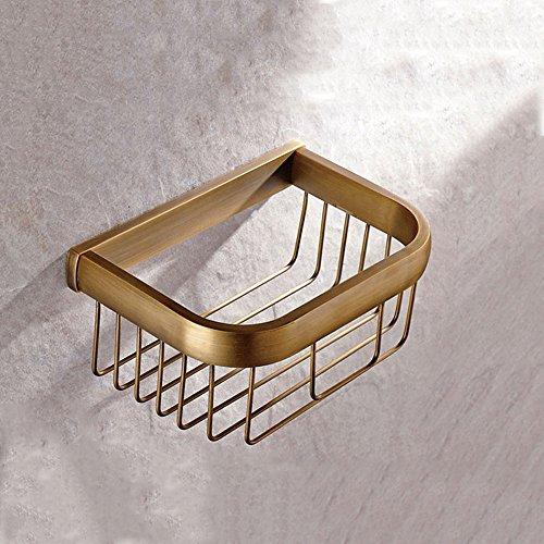 Shelfhx Cuarto de baño de Color Antiguo Europeo Sola Capa latón Ducha estantes Cesta de Almacenamiento Cuarto de baño Hardware Colgante baño Papel higiénico Titular de Toallas de Papel Cesta