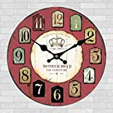 Oudan Wanduhr Nicht Ticking Anzahl Quarz Wanduhr Wohnzimmer Dekorative Innen Uhr Schlafzimmer Uhr Küchenuhr Retro Wanddekoration Wall12 In, U-12 Zoll (Farbe : D12, Größe : 12 In.)