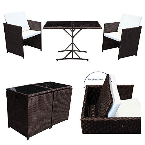 POLY RATTAN Sitzgruppe von SVITA Essgruppe Set Farbwahl - Cube Sofa-Garnitur Gartenmöbel Lounge Farbwahl (2er Garnitur, Braun)