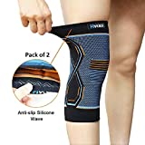 Hykes Unisex Nylon Knee Cap Compression Support Sleeve(Pair, Large)