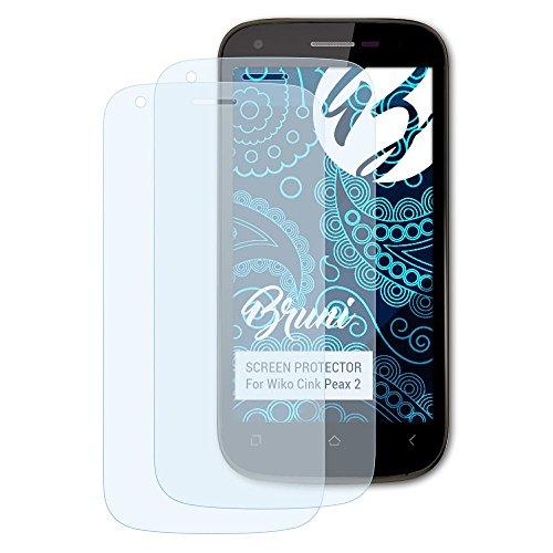Bruni Schutzfolie für Wiko Cink Peax 2 Folie, glasklare Bildschirmschutzfolie (2X)