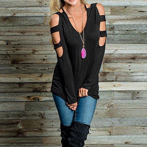AmazingDays Femme Chemisiers T-Shirts Tops Sweats Blouses Manches longues O cou évidé Out Sweat-shirt Blouse Pull Black