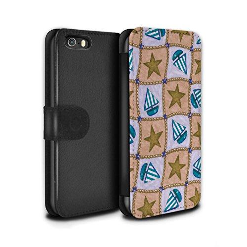 Stuff4 Coque/Etui/Housse Cuir PU Case/Cover pour Apple iPhone SE / Turquoise/Orange Design / Bateaux étoiles Collection Brun/Bleu