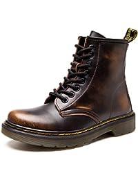 Botas de Mujer Cuero Impermeables Botines Hombre Invierno Zapatos Nieve Piel Forradas Calientes Planas Combate Militares Martin Boots