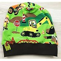 Beanie Mütze Baustelle grün Kopfumfang 50-55cm
