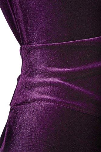 Roman Originals - Robe Femme en Velours Plissé Col Bénitier - Violet Violet