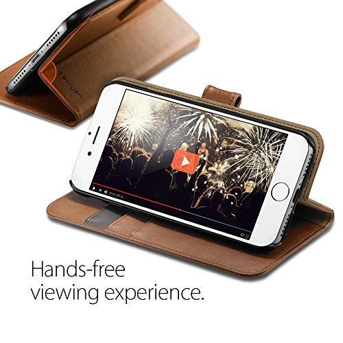 iPhone 7 Hülle, Spigen® [Wallet S] Kartenfach [Schwarz] Premium Ledertasche mit Stand-Funktion - Praktishe Leder Flip Schutzhülle für iPhone 7 Case, iPhone 7 Cover - Black (042CS20545) Wallet S Braun