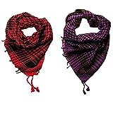 #8: Sri Belha Fashions Unisex - Desert Style checkered Kafiyah Arab Shemagh Arafat Scarves-2 Pcs -tiger zinda hai scarves