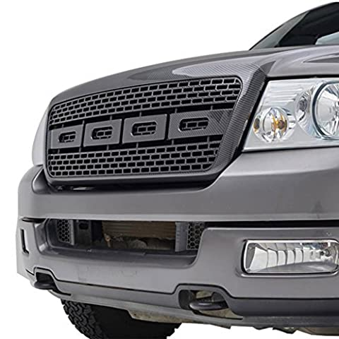 E-Autogrilles 04-08 Ford F-150 Black Carbon Fiber Look ABS Raptor Style Replacement Grille Grill with Shell (41-0131CF) by E-Autogrilles