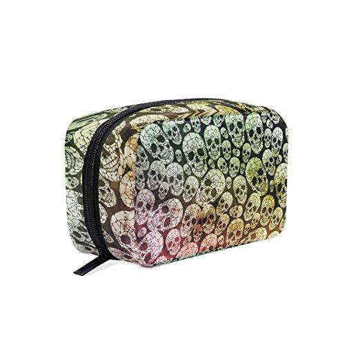 Tizorax Kosmetiktasche / Unterarmtasche, gotischer Stil, Totenkopf-Design, praktische Reisetasche