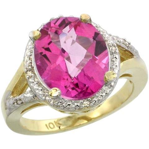 Revoni-Catenina in oro giallo 9 kt, con diamante e topazio rosa 18 ct-Anello con pietra ovale, 12 x 10 pezzi, taglie J-T 1/2 - Topaz 10 Pezzo