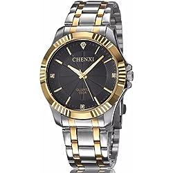fq-005Silber Edelstahl Golden Classic Style Herren Handgelenk Uhren mit Diamanten für Mann schwarz