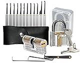 Geepro Kit de selección de cerraduras de 15 piezas con 2 cerraduras de entrenamiento, cerradura Herramienta de extracción de llaves + candados de ejer